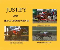 Justify 2018 Triple Crown C TKK Vintage 16X20 Color Memorabilia Photo - $29.95