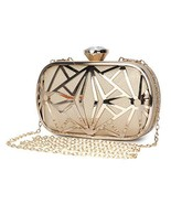 Clocolor Women Evening Bags Exquisite Leather Handbag Metal Hollow (Gold) - $40.49