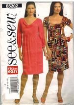 5202 UNCUT Butterick SEWING Pattern Misses Pullover Dress Empire Waist S... - $9.99
