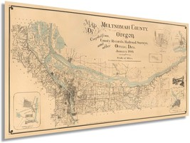 1889 Map of Multnomah County Oregon - Vintage Map Wall Art - Multnomah County Po - $34.99+