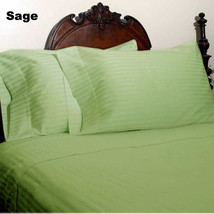 1000TC EGYPTIAN COTTON DUVETS/SHEETS/FITTED/FLAT UK-SIZE SAGE STRIPED - $52.01+