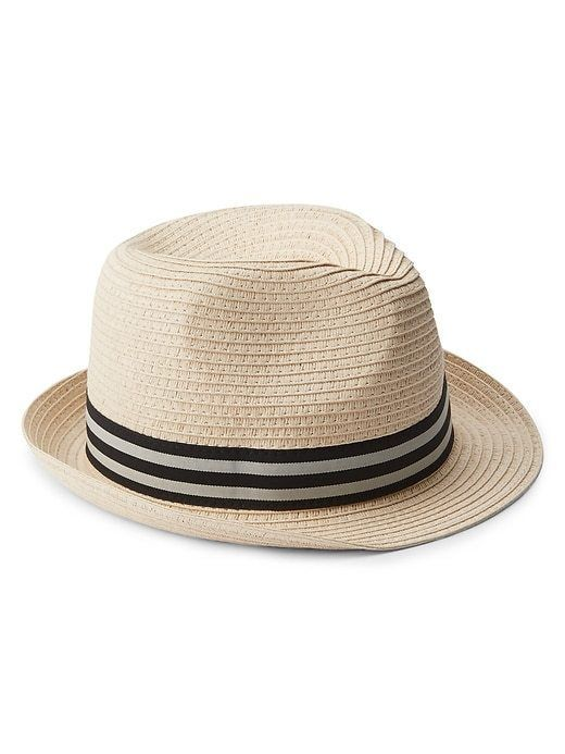 Gap Kids Boys Fedora Hat S/M L/XL Natural Straw Weave Striped Band Dimple Crown