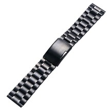 YISUYA Black 22mm Solid Stainless Steel Watch Band Polished Metal Bracelet - $20.88