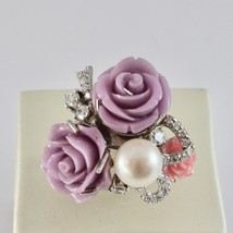 925 Silver Ring Rhodium with Zircon Cubic Roses of Resin and Pearl White image 1