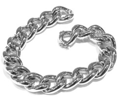 """18K WHITE GOLD BRACELET BIG ONDULATE ROUNDED GOURMETTE CUBAN CURB LINKS 10mm .4"""" image 1"""
