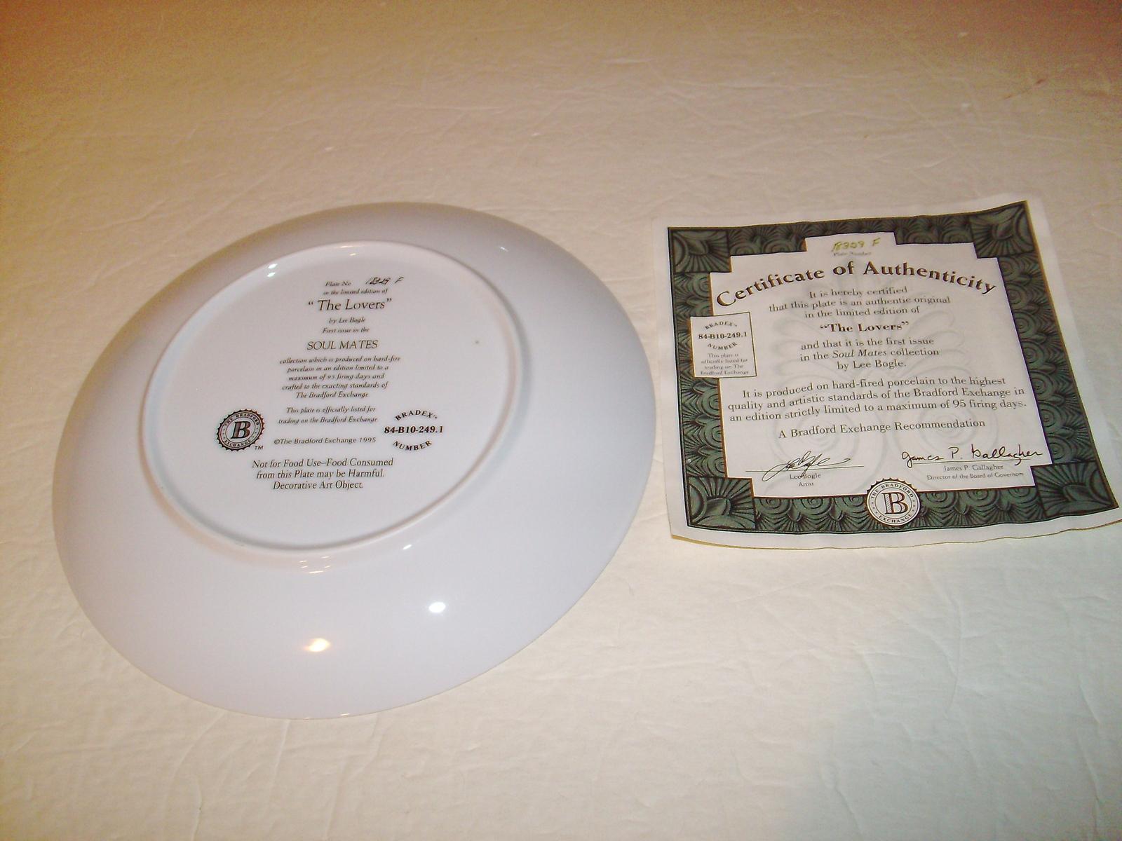 Bradford Exchange Collector Plate: The Lovers -Lee Bogle- 84-B10-249.1 + COA