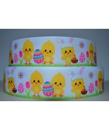 "Great 7/8"" Easter Eggs Chick & Bunny Chick Printed Grosgrain Ribbon 1 Yard - $6.99"