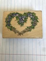 """Rubber Stamp """"Heart Wreath Donna Dewberry"""" 3"""" by 2"""" Stampcraft - $10.39"""