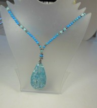 Karla Jordan Blue Bead Necklace Blue Mosaic Look Pendant - $14.84