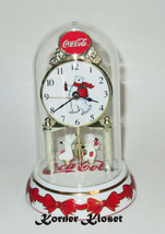 Coca-Cola Anniversary Clock - Revolving Bear Dome Clock - Coke Quartz Clock - £25.94 GBP