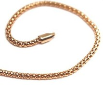 18K ROSE GOLD BRACELET BASKET ROUND TUBE LINK 1.8 MM WIDTH, 19cm MADE IN ITALY image 2