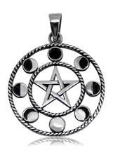 925 solid Sterling silver Pagan Wiccan Pentagram with 8 Moon phases pendant - $31.14
