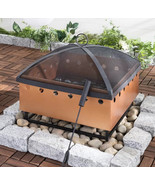 Outdoor Fire Pit Wood Burning Cast Iron Heater Copper Garden Drum Yard F... - $197.99