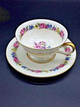 Vintage CASTLETON Fine China MANOR USA Tea Cup and Saucer Floral Gold Set - $10.00