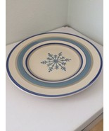 Royal Norfolk Plate Stonewear Holiday Snowflake Dinner Blue Ivory Winter... - $19.79