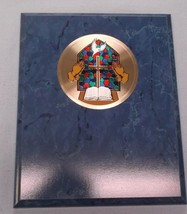 bible cross praying hands metal insert religion stained glass look blue ... - $13.54