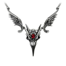 Alchemy of England Gothic Masque of the Black Rose Skull Swarovski Necklace P798 - $69.99