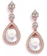 Mariell Blush 14K Rose Gold Plated Shell Pearl Drop Bridal Wedding Dang... - $65.17