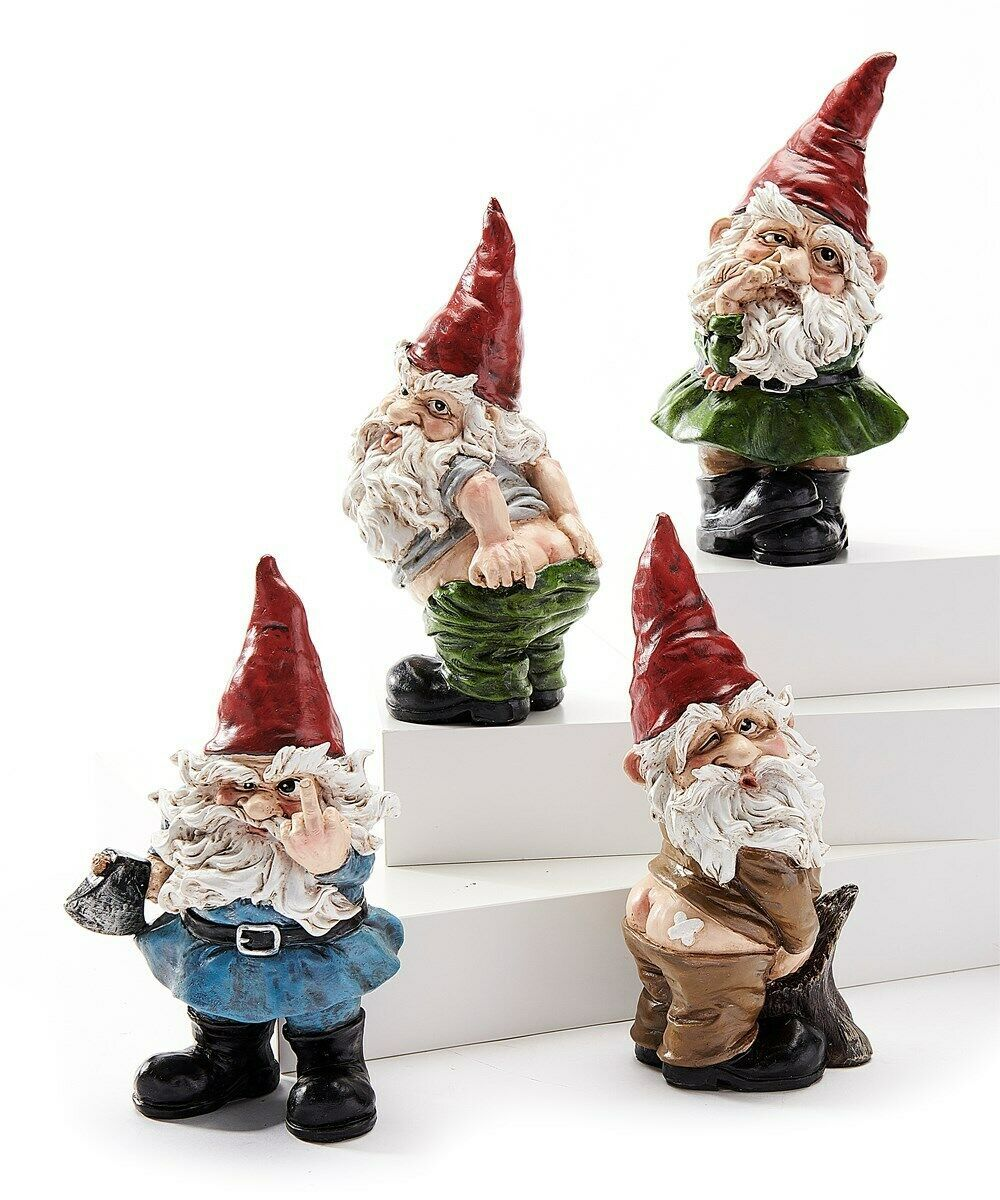 Set of 4 Saucy Pesky Gnomes - Hand Signal, Mooning, Bandaid & Nose Picking