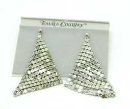 Town & Country Silver Tone Metal Mesh Post Earrings New Old Stock Vintage - $24.74