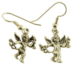 VINTAGE STERLING CHERUB CUPID BOW & ARROW DROP FRENCH WIRE EARRINGS - $72.89