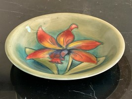 MOORCROFT England Art Pottery Orchid Plate - $64.35