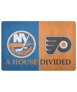House Divided Man Cave Decor NHL Hockey Welcome Doormat Philly Flyers Is... - $29.39