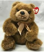 "Ty Teddy Bear Magee Gold Ribbon 9.5"" Sitting Plush Stuffed Animal 1998 - $9.85"