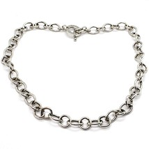 Silver 925 Necklace Chain, Oval Square, Designation, Long 48 cm, Fastening T image 2