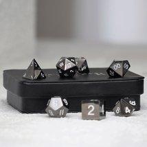 Gun Metal Polyhedral Dice Series: White Numbering - 7 Piece Set With Dis... - $44.00
