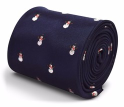 Frederick Thomas navy blue tie with christmas snowman design FT3311