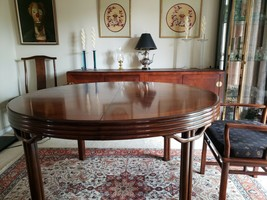 Baker Mid Century Hollywood Chinoiserie Walnut  Dining Room Table + 6 Chairs image 2