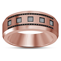 14k Rose Gold Plated 925 Silver Princess Cut Black CZ Men's Wedding Band Ring - $82.99