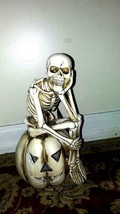 Light Up Skeleton Sitting on Pumpkin Figurine Fall Halloween Props Decor... - $65.44