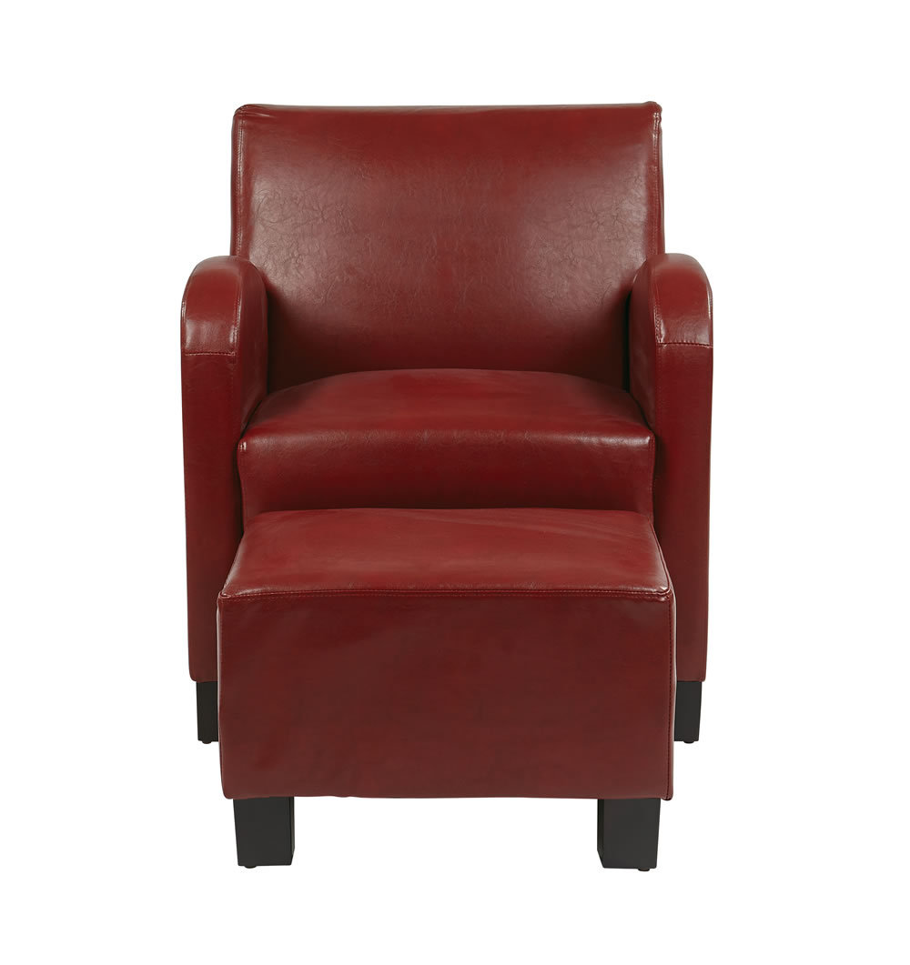 Crimson Red Faux Leather Wood Legs Lounge Club Chair