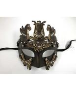 Men Greek Roman Warrior Emperor Gold Masquerade Mask w/ Crystals - $23.99
