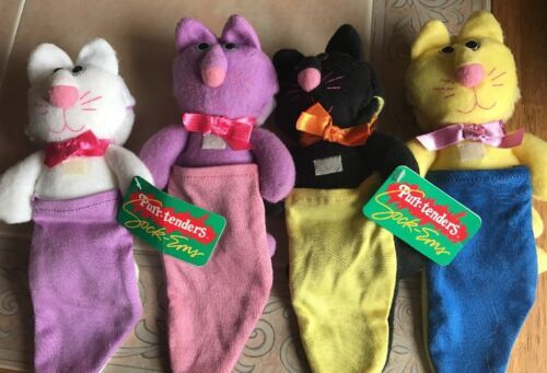 Primary image for 1987 Hallmark Purr-Tenders Sock-ems Rabbit Dog Bird Plush Lot of 4 vintage