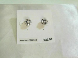 "Department Store 5/16"" Silver Tone Cubic Zirconia Fireball Stud Earrings... - $7.67"