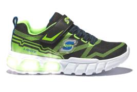 Skechers S Sport Flinn Boys Black Green Light Up Lights Sneaker Shoes image 2