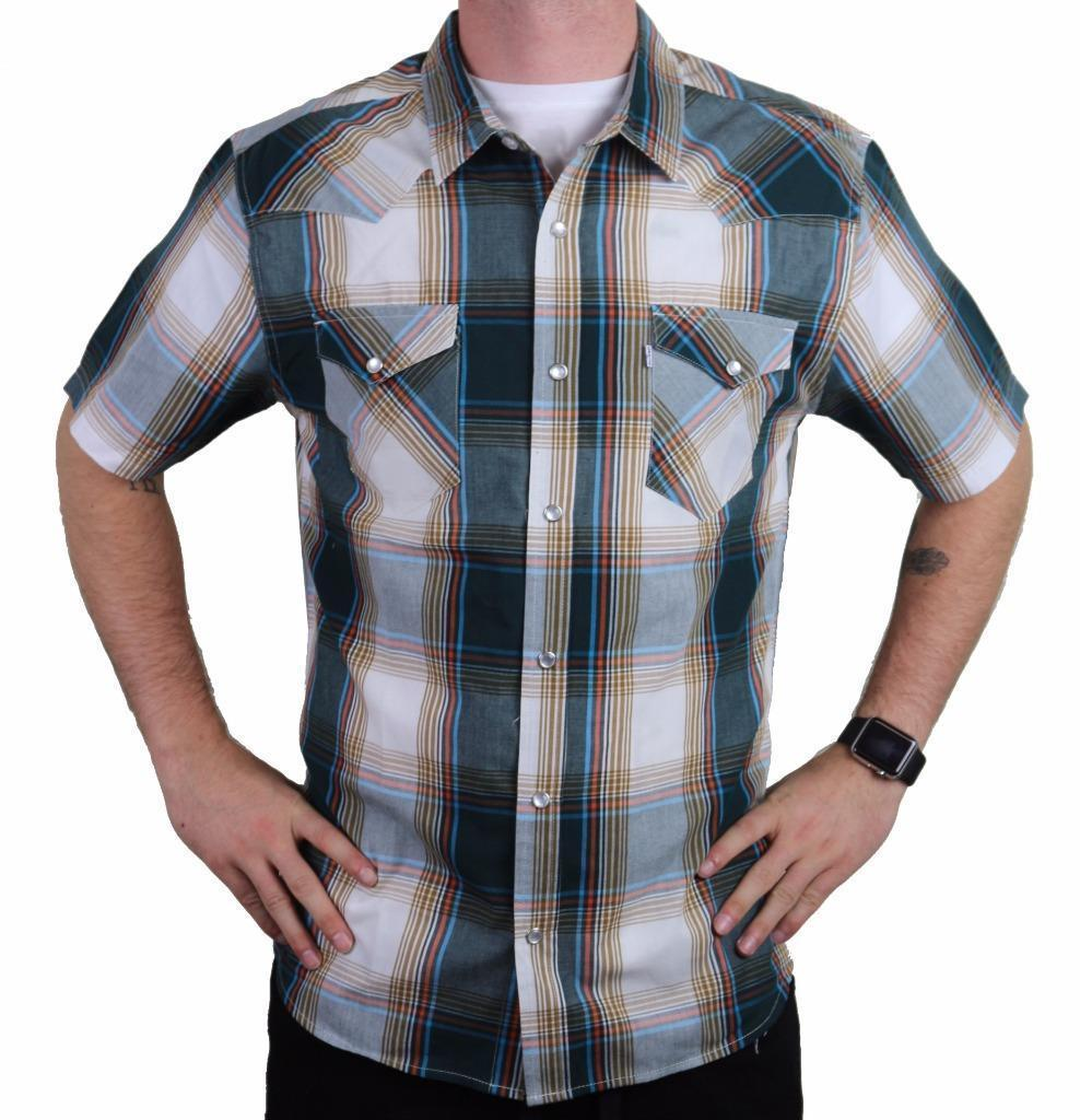 NEW LEVI'S MEN'S COTTON CASUAL BUTTON UP SHORT SLEEVE SHIRT PLAID TEAL 3LYLW6082