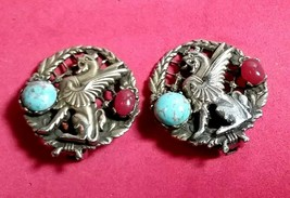 VINTAGE UNSIGNED WINGED LION DRAGON TURQUOISE ART GLASS ANTIQUE GERMANY ... - $45.00