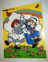 1987 Vtg Playskool Raggedy Ann Andy Wood Puzzle Pre School Do The Raggedy Dance - $9.90