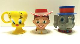 Childrens Novelty Cups Mugs Ceramic Tweety Bird - Plastic Elephant & Cow... - $18.70