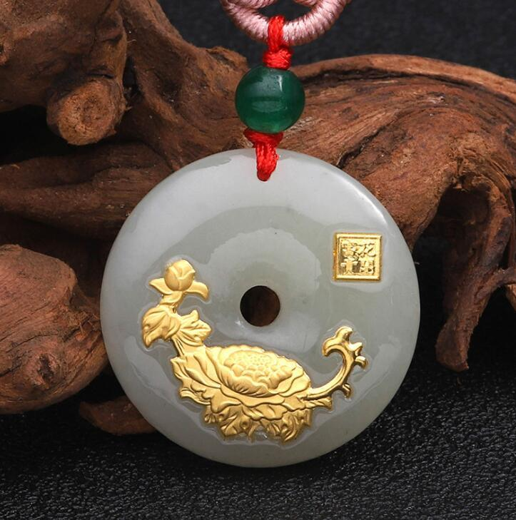 new design flower jade necklace for unisex good quality best gift hot selling free shipping 309