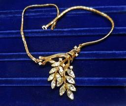 """Vintage Trifari Rhinestone Spring Fantasy Necklace 1951 Pat. Pend. 14.25"""" - $28.45"""