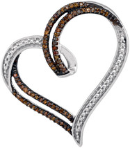 Sterling Silver Round Brown Color Enhanced Diamond Heart Pendant 1/5 Ctw - $89.00