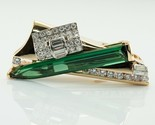 Diamond Green Tourmaline Pendant Slide 14K Gold