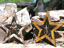TWO Distressed Western Wall Stars Iron-Wood USA bz - $139.98