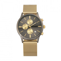 Breed Espinosa Chronograph Mesh-Bracelet Watch w/ Date -  Gold/Gunmetal - $420.00