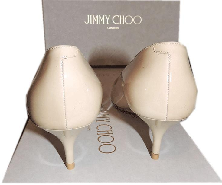 Jimmy Choo Aza Nude Patent Leather Pump Pointy Toe Low Kitten Heel Shoe 37